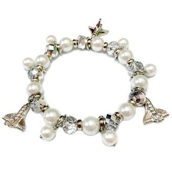 Space Shuttle Endeavor Charm Silver Crystals Bracelet - Galaxy Space Astronomy Jewelry - Handmade Glass Crystal Beaded Bracelet  for Women - Fiona -  BR2823B