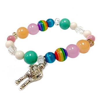 Astronaut Charm Bracelet - Galaxy Space Astronomy Jewelry - Handmade Glass Beaded Bracelet  for Women - Fiona -  BR2970