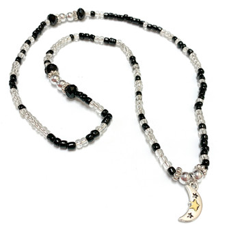 Silver Moon Charm Wrap Stretch Bracelet Necklace - Galaxy Space Astronomy Jewelry - Handmade Black and Clear Glass Crystals Beaded Bracelet Necklace for Women - Fiona -  BR2908C