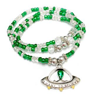 UFO Alien Flying Saucer Charm Wrap Stretch Bracelet Necklace - Handmade Green Glass Crystal Beaded Bracelet Necklace for Women - Fiona -  BR2908F