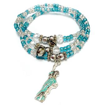Statue of Liberty Charm Wrap Stretch Bracelet Necklace - Handmade Glass Crystal Beaded Bracelet Necklace for Women - Fiona -  BR2910
