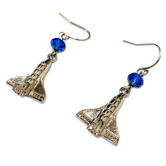 Space Shuttle Endeavor  Blue Crystal Earrings - Galaxy Space Astronomy Jewelry for Women - Fiona -  E820A