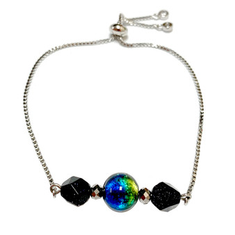 Green Blue Nebula Galaxy Gemstone Pull Chain Bolo Bracelet - Galaxy Space Astronomy Jewelry - Handmade Cat-Eye Blue Sand Stone Bracelet  for Women - Fiona -  BR3014