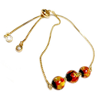 Gold Galaxy Pull Chain Bolo Bracelet with Glow In The Dark Dots - Galaxy Space Astronomy Jewelry - Handmade Murano Glass Beads Bracelet  for Women - Fiona -  BR3015C