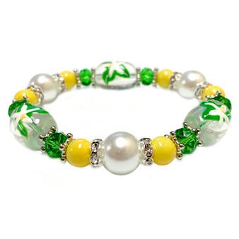 Florida State Flower Orange Blossom Bracelet - Flower Girl Bracelet - Florida Jewelry for Women - Handmade Glass Beaded Bracelet - Fiona -  BR3109D