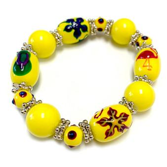 Beach Glass Jewelry - Flip Flop Flamingo Hawaiian Flower Bracelet - Handmade Summer Beaded Beach Bracelet for Women - Fiona -  BR1354