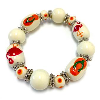 Beach Glass Jewelry - Flip Flop Flamingo Bracelet - Handmade Summer Beaded Beach Bracelet for Women - Fiona -  BR1356