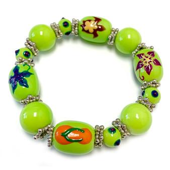 Beach Glass Jewelry - Hawaiian Flower Sea Turtle Flip Flop Bracelet - Handmade Summer Beaded Beach Bracelet for Women - Fiona -  BR1358