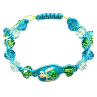 Sea Turtle Adjustable Bracelet - Nautical Beach Glass Crystal Jewelry - Handmade Rope  Bracelet for Teen and Women - Fiona -  BR2389B