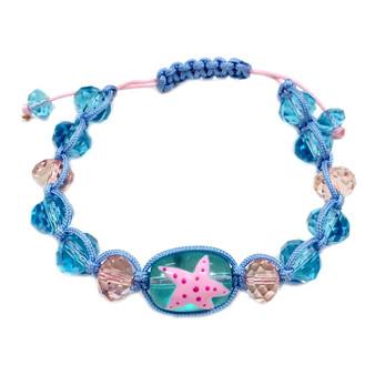 Starfish  Adjustable Bracelet - Nautical Beach Glass Crystal Jewelry - Handmade Rope  Bracelet for Teen and Women - Fiona -  BR2389C