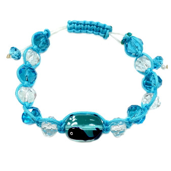 Whale Adjustable Bracelet - Nautical Beach Glass Crystal Jewelry - Handmade Rope  Bracelet for Teen and Women - Fiona -  BR2389G