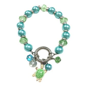 Sea Turtle Charm Bracelet - Nautical Beach Glass Crystal Jewelry -  Handmade Summer Beaded Beach Bracelet for Teen and Women - Fiona -  BR2474A