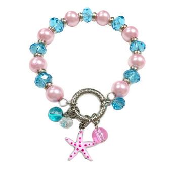Starfish Charm Bracelet - Nautical Beach Glass Crystal Jewelry -  Handmade Summer Beaded Beach Bracelet for Teen and Women - Fiona -  BR2474B