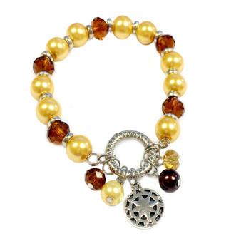 Gold Compass Charm Bracelet - Nautical Glass Crystal Jewelry -  Handmade Beaded Beach Bracelet for Teen and Women - Fiona -  BR2476I-Compass