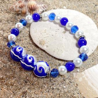 Navy Blue Ocean Waves Glass Bead Bracelet - Maritime Beach Ocean Jewelry  - Handmade Beaded Bracelets for  Women - Fiona - BR2824F