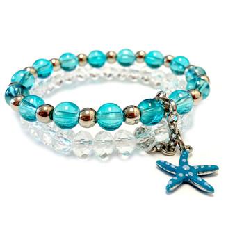 Blue Starfish Charm Glass Bead Bracelet - Nautical Beach Summer Jewelry  - Handmade Beaded Bracelets for  Women - Fiona - BR2634B