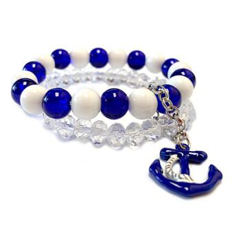 Navy Blue Anchor Charm Glass Bead Bracelet - Naval Beach Maritime Jewelry  - Handmade Beaded Bracelets for  Women - Fiona - BR2634D