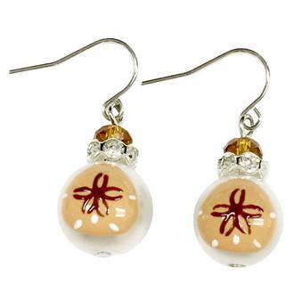 Sand Dollar Glass Drop Earrings - Handmade Nautical Beach Ocean Glass Crystal Jewelry for Women - Fiona - E308D