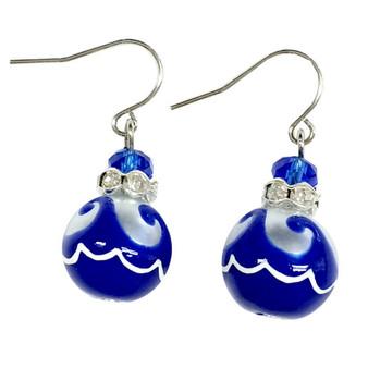Navy Blue Ocean Waves Glass Drop Earrings - Handmade Maritime Beach Ocean Glass Crystal Jewelry for Women - Fiona - E308F