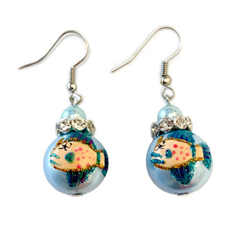 Blue Fin Fish Glass Drop Earrings - Handmade Nautical Beach Ocean Glass Crystal Jewelry for Women - Fiona - E104