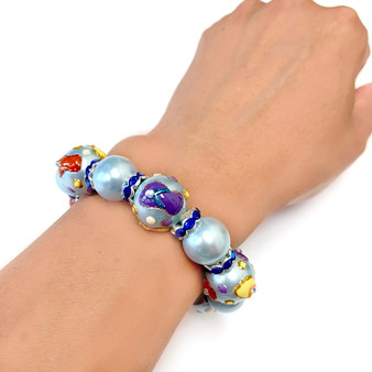 Beach Flip Flops Pearl Glass Bead Bracelet - Handmade Ocean Beach Glass Crystal Jewelry  Beaded Jewelry for  Women - Fiona - BR1233