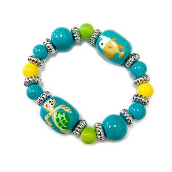 Sea Turtle Fish Kids Glass Bead Bracelet - Handmade Ocean Beach Glass Crystal Jewelry  Beaded Jewelry for Daughter Little Girl - Fiona - LP0711201221