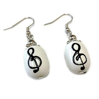 Treble Clef Music Notes Glass Drop Earrings - Teacher Appreciation Gift- Handmade Glass Bead Earrings for Women - Fiona - E49
