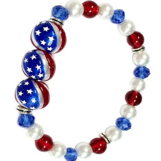 Fine Painted USA  Flag Glass & Crystal Beaded Stretch Bracelet (BR-2829B)