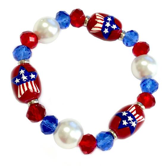 Painted USA  Star Flag Glass Beaded Stretch Bracelet (BR-2123)