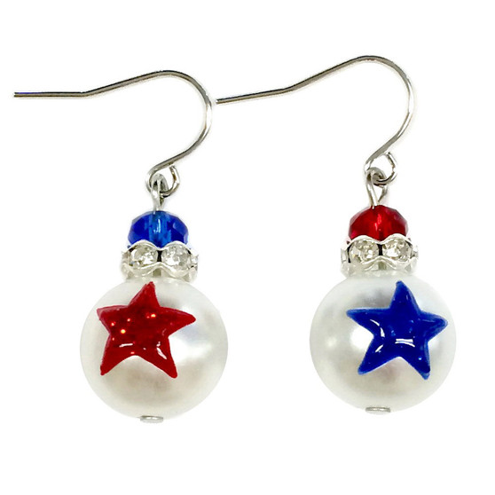 Painted USA Red/Blue Stars Glass & Crystals Beaded Earrings (E-309A)