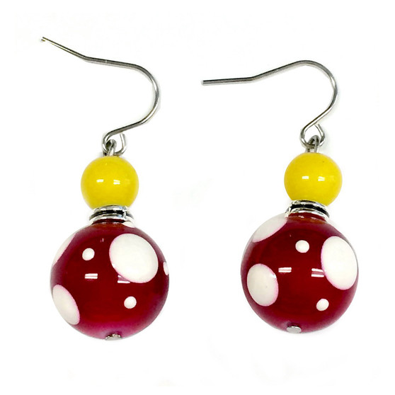 """Painted """"We Can Do It"""" Rosie the Riveter Earrings - Carded, Limited Edition(E-326)"""