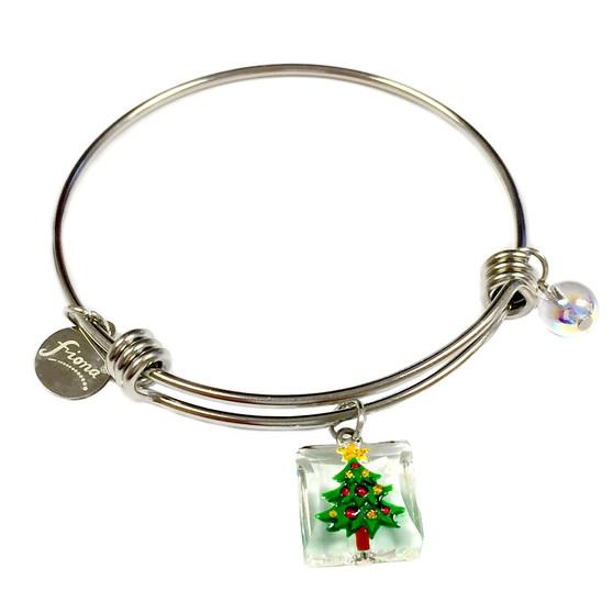 Painted Christmas Festival Tree Swarovski Crystal Adjustable Bangle (BR-2944)