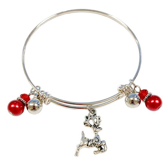 Christmas Silver Reindeer Adjustable Bangle (BR-2991F)