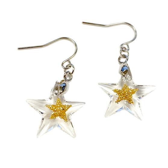 Fine Painted Gold Star Swarovski Crystal Earrings (E-356A)