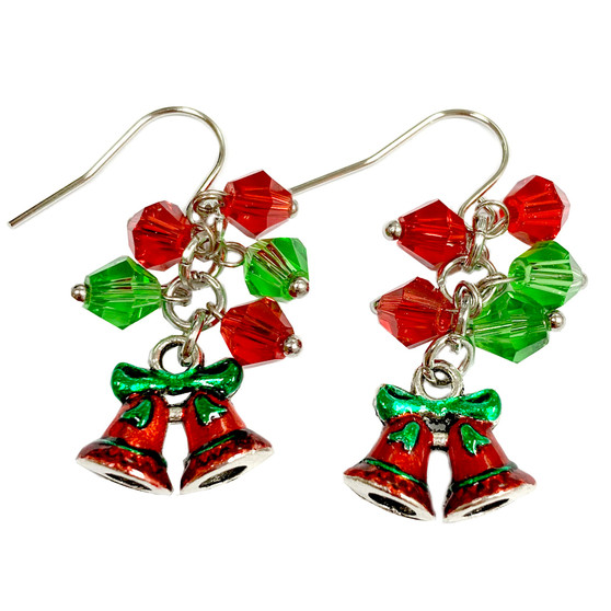 Painted Christmas Jingle Bells Charm & Crystals Earrings (E-357A)