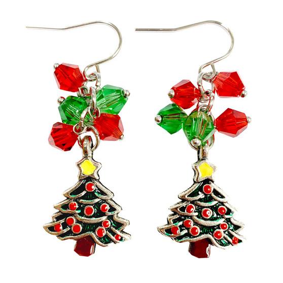 Painted Christmas Festival Tree Charm & Crystals Earrings (E-357B)