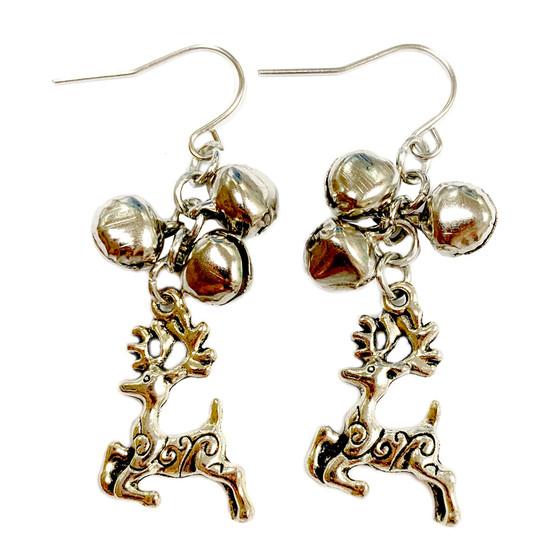 Christmas Silver Reindeer Charm & Jingle Bells Earrings (E-357F)