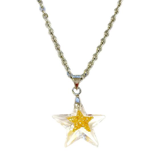Fine Painted Gold Star Swarovski Crystal Necklace (NE-3132A)
