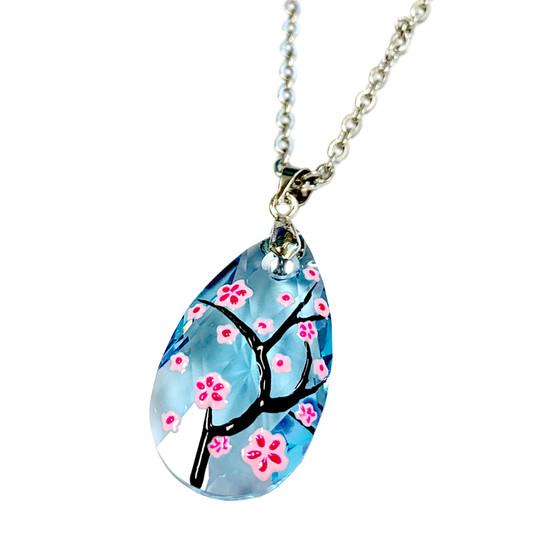 Fine Painted Cherry Blossom Swarovski Aqua Crystal Necklace (NE-3133) - Inspired by Van Gogh's Almond Blossom Painting.