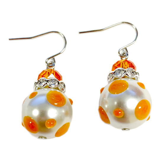 Orange Polka Dots Glass and Crystals Beaded Drop Earrings(E-374C) - Creative, Cheer, Vibrant, Optimistic, Enthusiastic