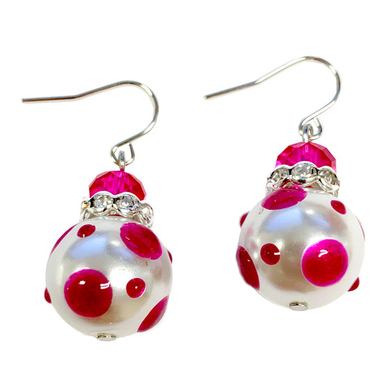 Magenta Polka Dots Glass and Crystals Beaded Drop Earrings(E-374G) -Inspire, Leader, Artistic, Creative, Big Heart