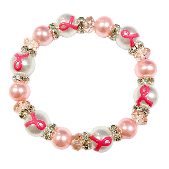 Painted Pink Ribbon Breast Cancer Awareness Dainty Pearl Glass Bead Stretch Bracelet IUP20-4