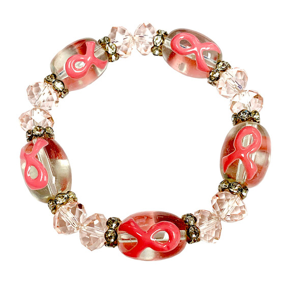 Painted Pink Ribbon Breast Cancer Awareness Glass Bead and Crystals Stretch Bracelet BR-2105