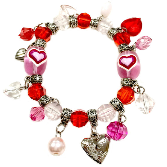 Valentine Bracelet - Hearts with Charms Bracelet  - Glass Beaded Bracelet - Hand painted - BR2257D