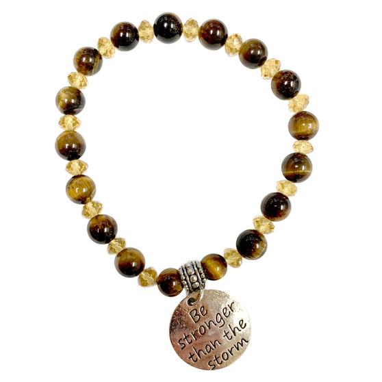 8mm Brown Tiger Eye Stone Bracelet - Be Stronger than the storm Charm Bracelet - Stone Beads Bracelet for Women - Fiona - BR3099C