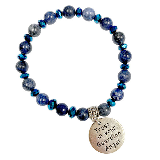 8mm Blue Sodalite Stone Bracelet - Trust in your Guardian Angel Charm Bracelet - Stone Beads Bracelet for Women - Fiona - BR3099G