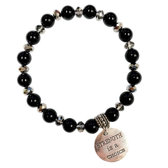 8mm Black Onyx Bracelet - Strength is a Choice  Charm Bracelet - Stone Beads Bracelet for Women - Fiona - BR3099I