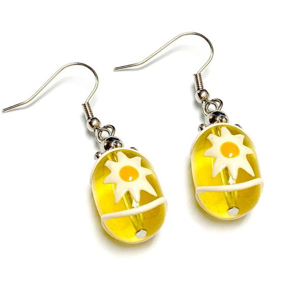 Spring Daisy Earrings -   Spring Earrings for Kids - Handmade Glass Beads Dangle Earrings - Fiona -  E62