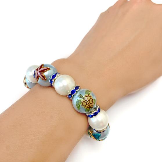 Sea Turtle Seashell Starfish Fishes Pearl Glass Bead Bracelet - Nautical Beach Glass Crystal Jewelry  - Handmade Beaded Bracelets for  Women - Fiona - BR1231