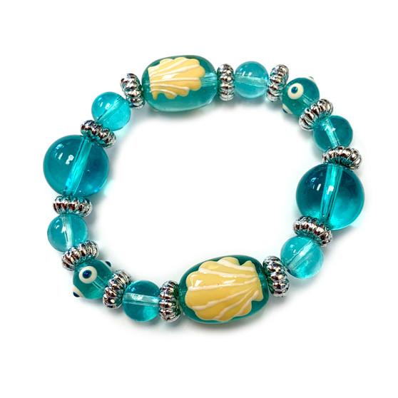 Seashell Kids Glass Bead Bracelet - Handmade Ocean Beach Glass Crystal Jewelry  Beaded Jewelry for Daughter Teen Girl - Fiona - IUP256KID